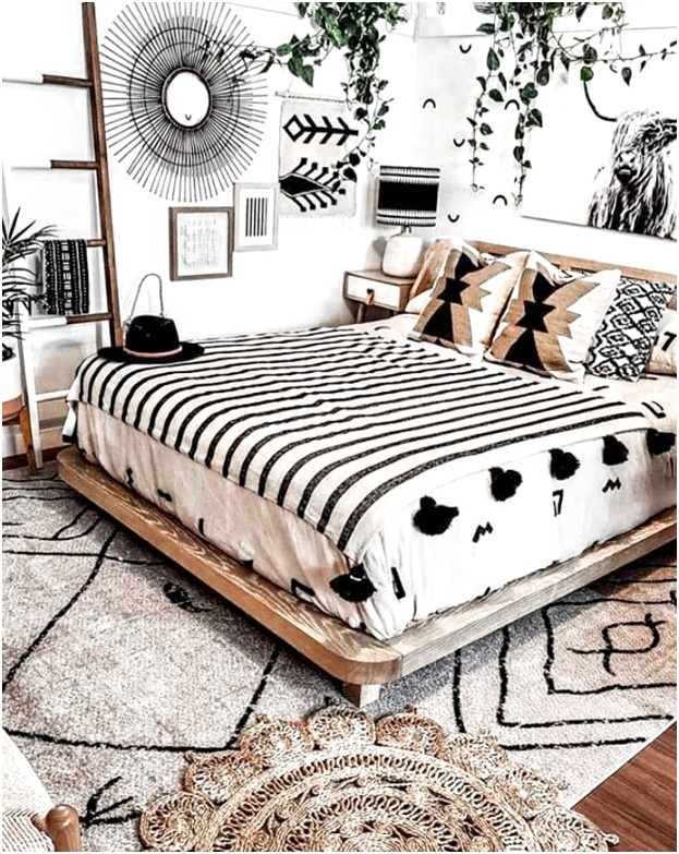 Black White Boho Bedroom 1