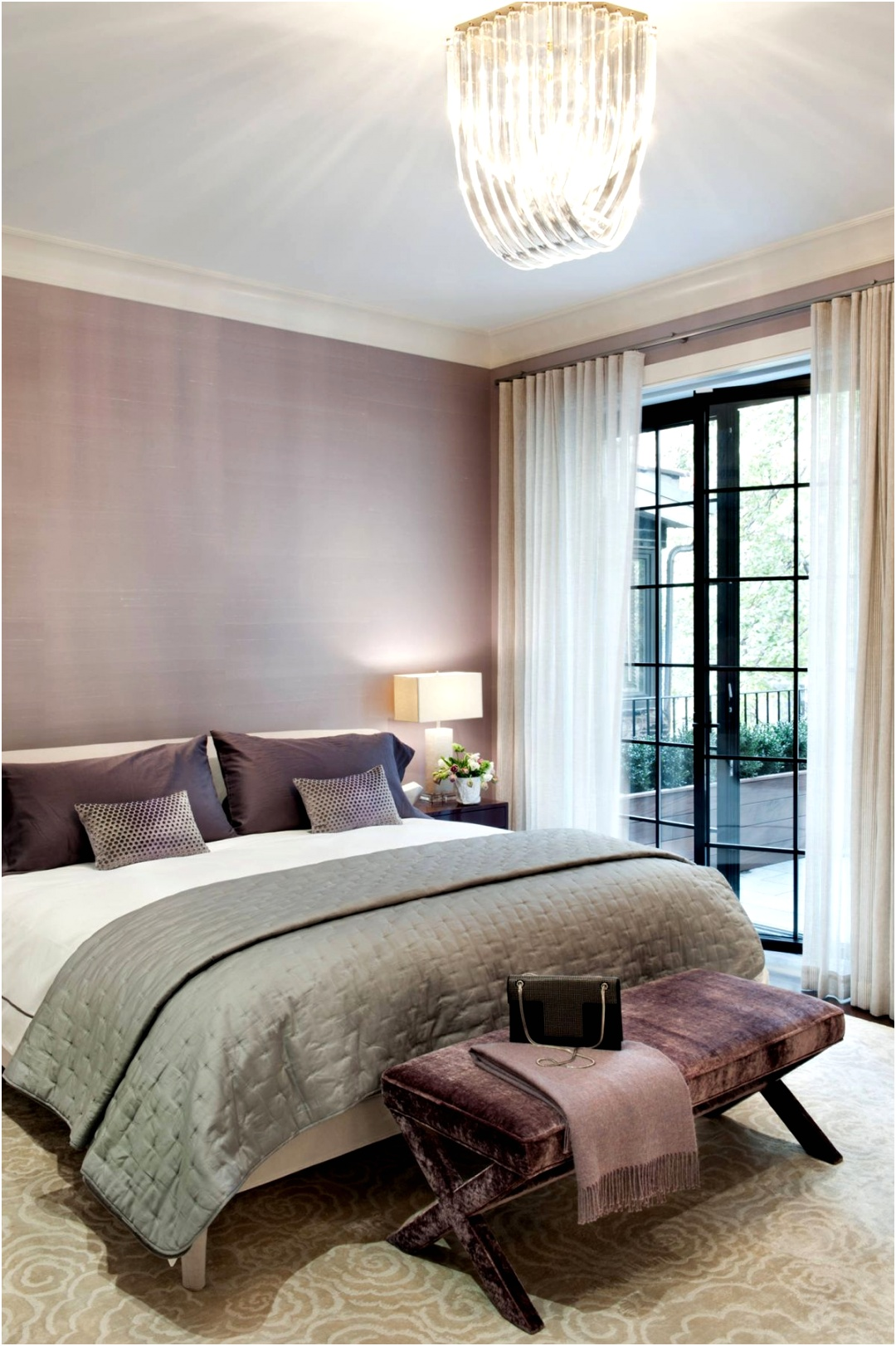 Lavender bedroom with contemporary wallpaper