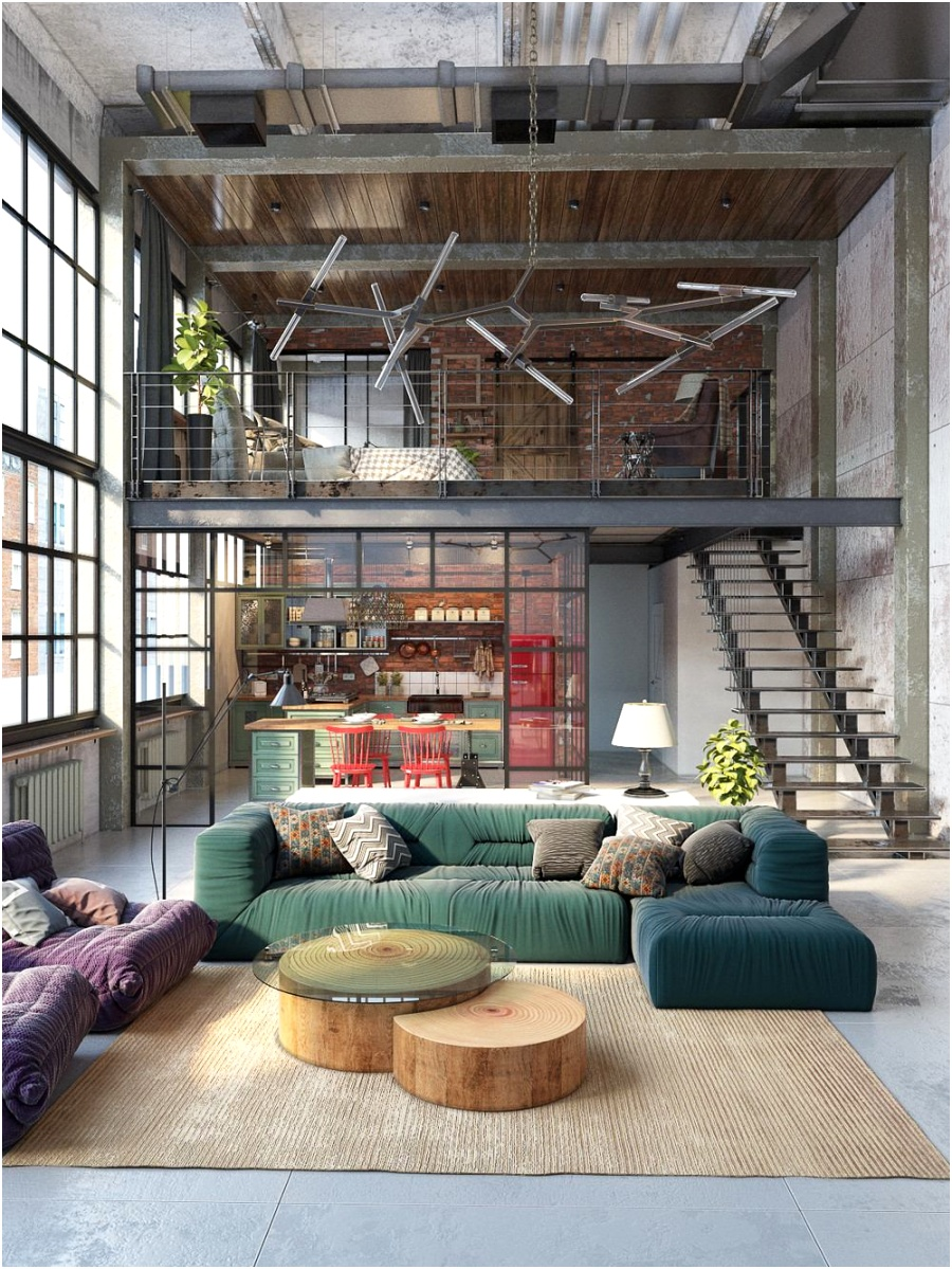 colourful two storey view industrial inspired living room