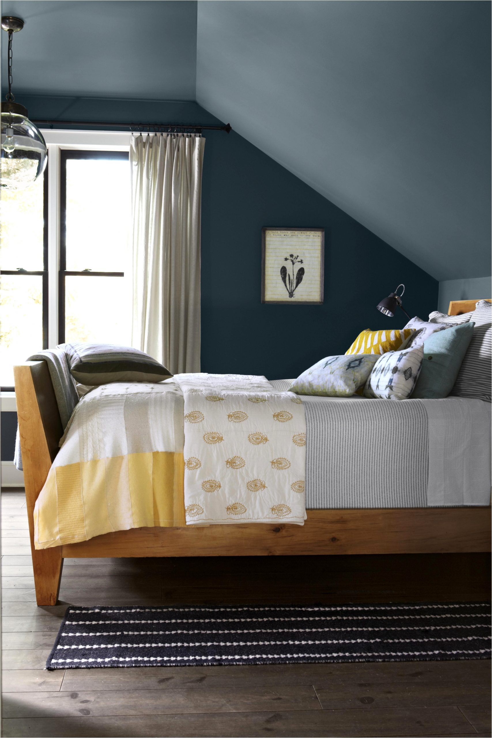 deep blue gray bedroom paint color