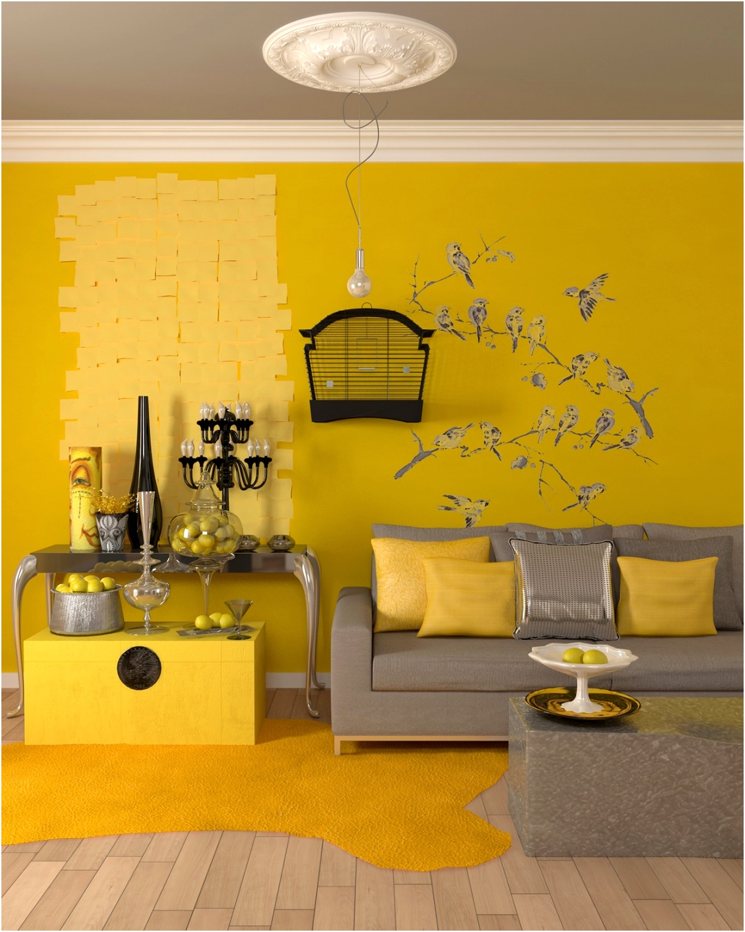 very bold yellow accents
